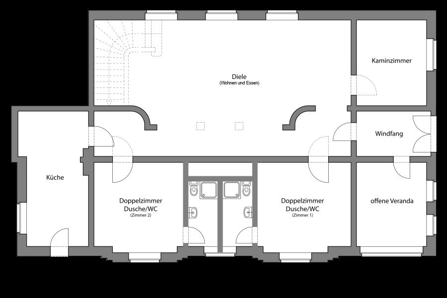 Grundriss Ferienhaus Erdgeschoss