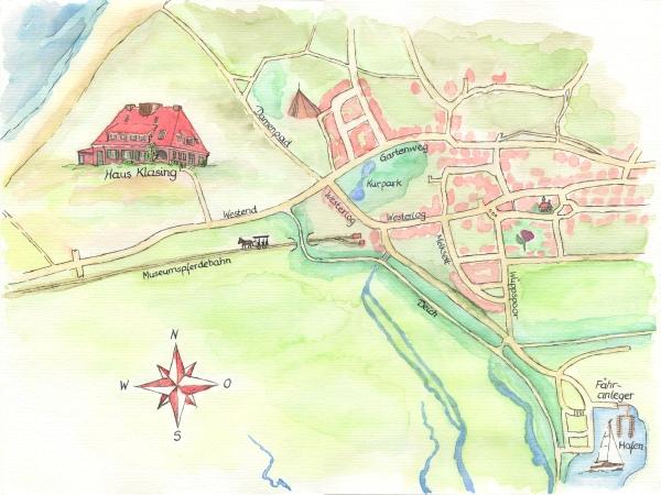 Spiekeroog-Karte mit Weg vom Hafen zum Haus Klasing
